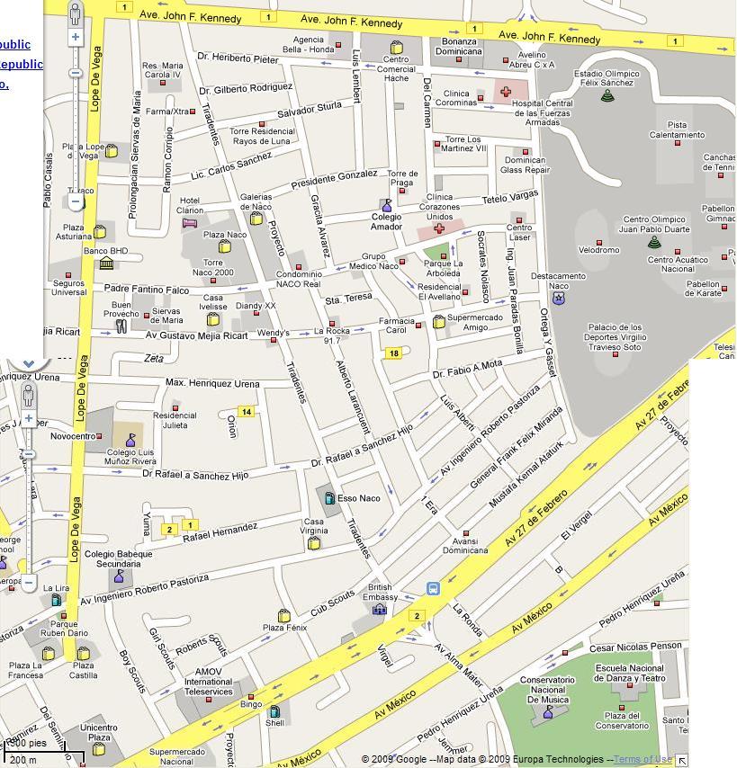 mapa ensanche naco santo domingo r d